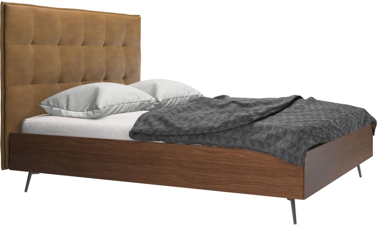 Camas - cama Lugano, no incluye colchón - En marrón - Piel