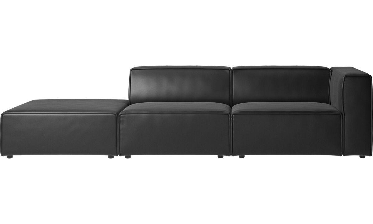 Sofás modulares - Sofá Carmo con módulo de descanso - En negro - Piel