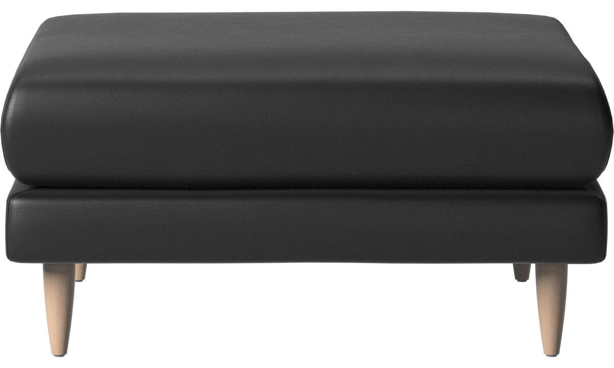 Footstools - Fargo footstool - Black - Leather