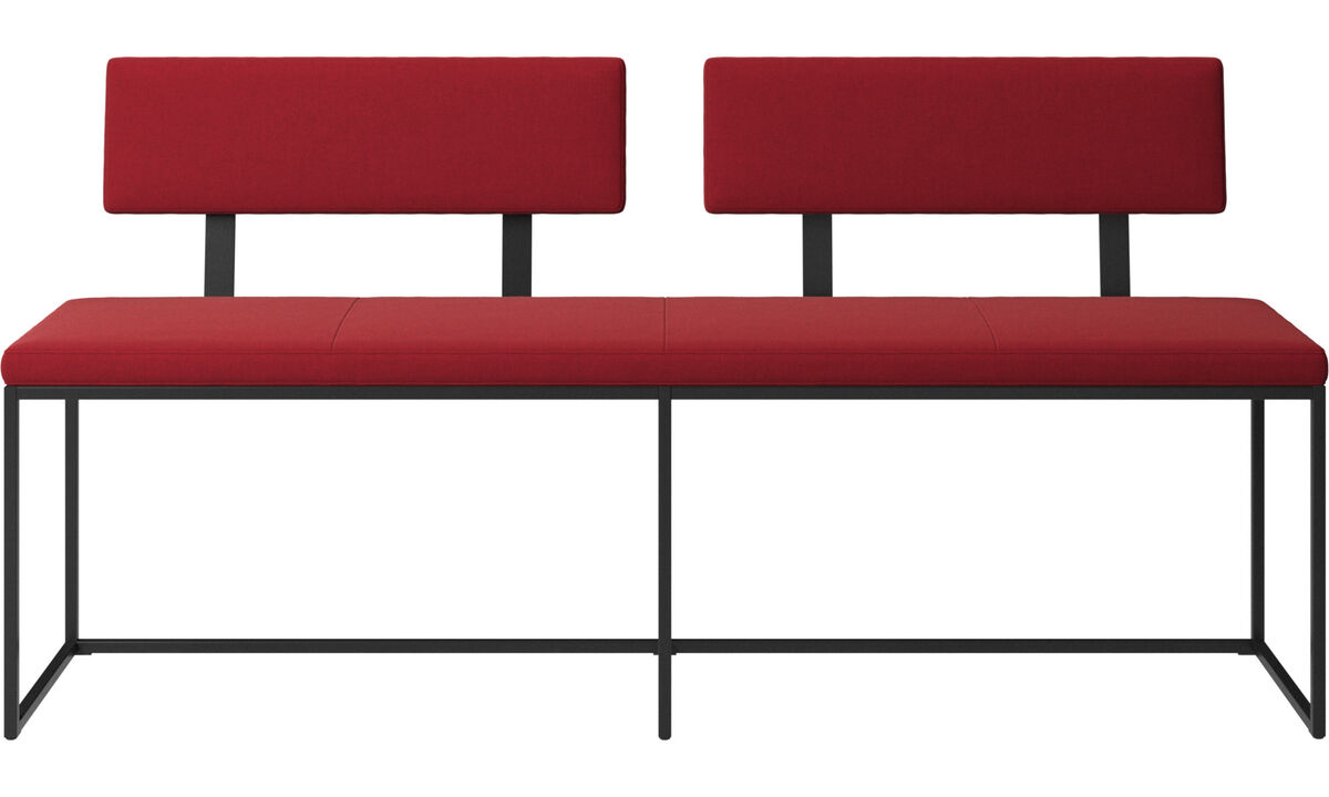 Benches - London large bench with cushion and backrest - Red - Fabric