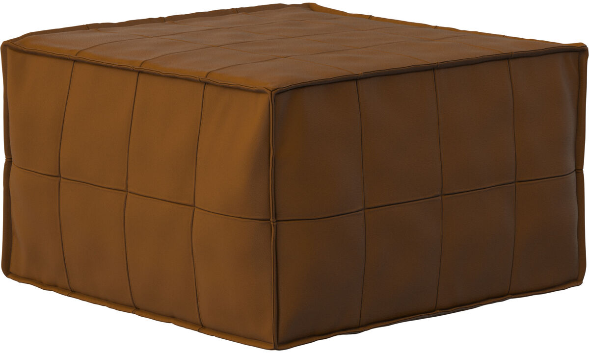 Footstools - Xtra tufted footstool with sleeping function - Brown - Leather