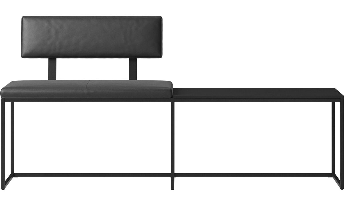 Benches - London large bench with cushion, shelf and backrest - Black - Leather