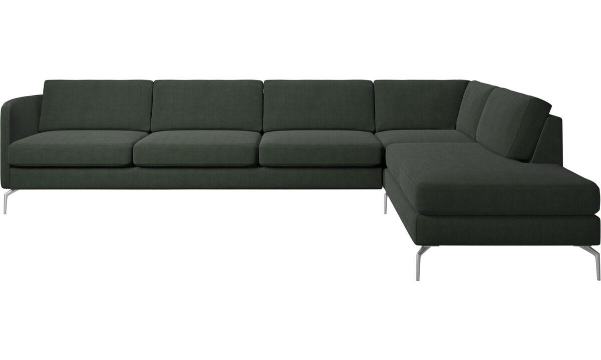 Sofás con lado abierto - sofá esquinero Osaka con módulo de descanso, asiento regular - En verde - Tela