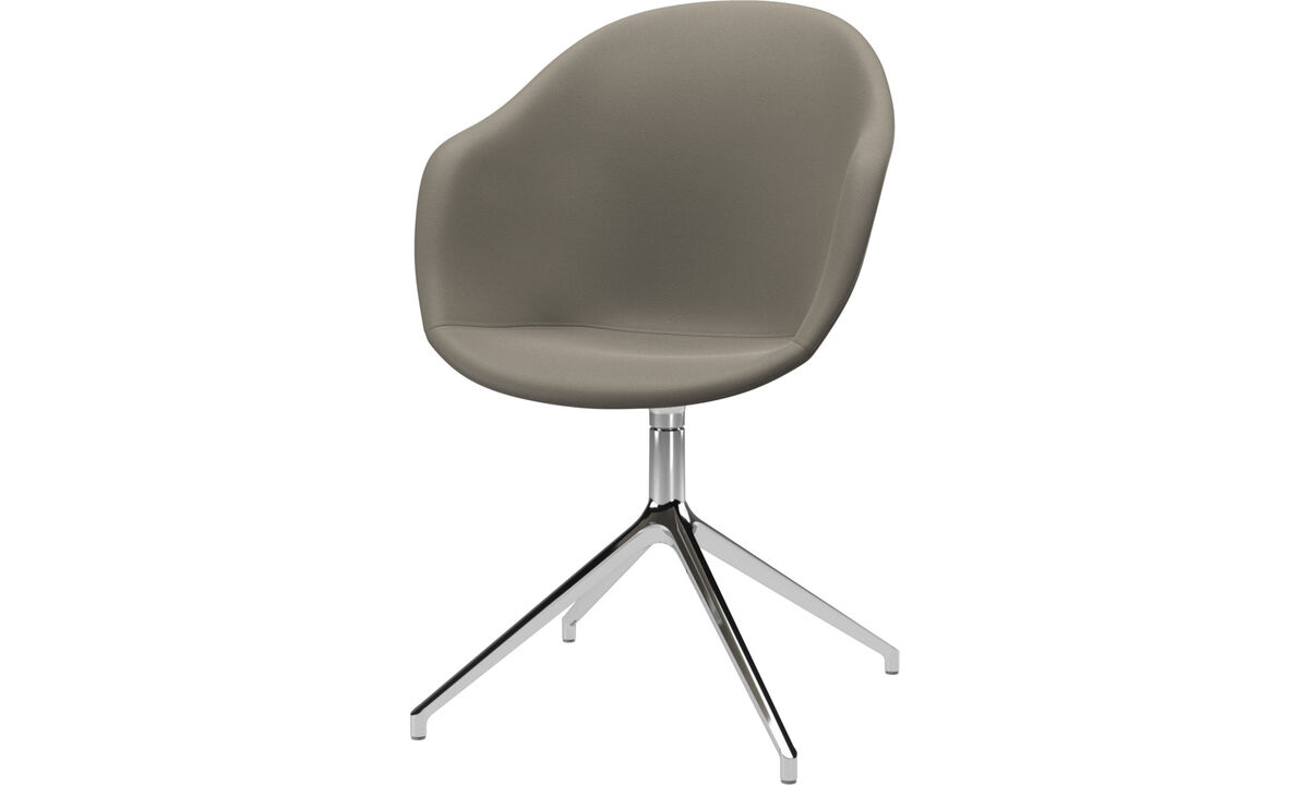 Sillas para la oficina en casa - silla Adelaide con función giratoria - En gris - Piel