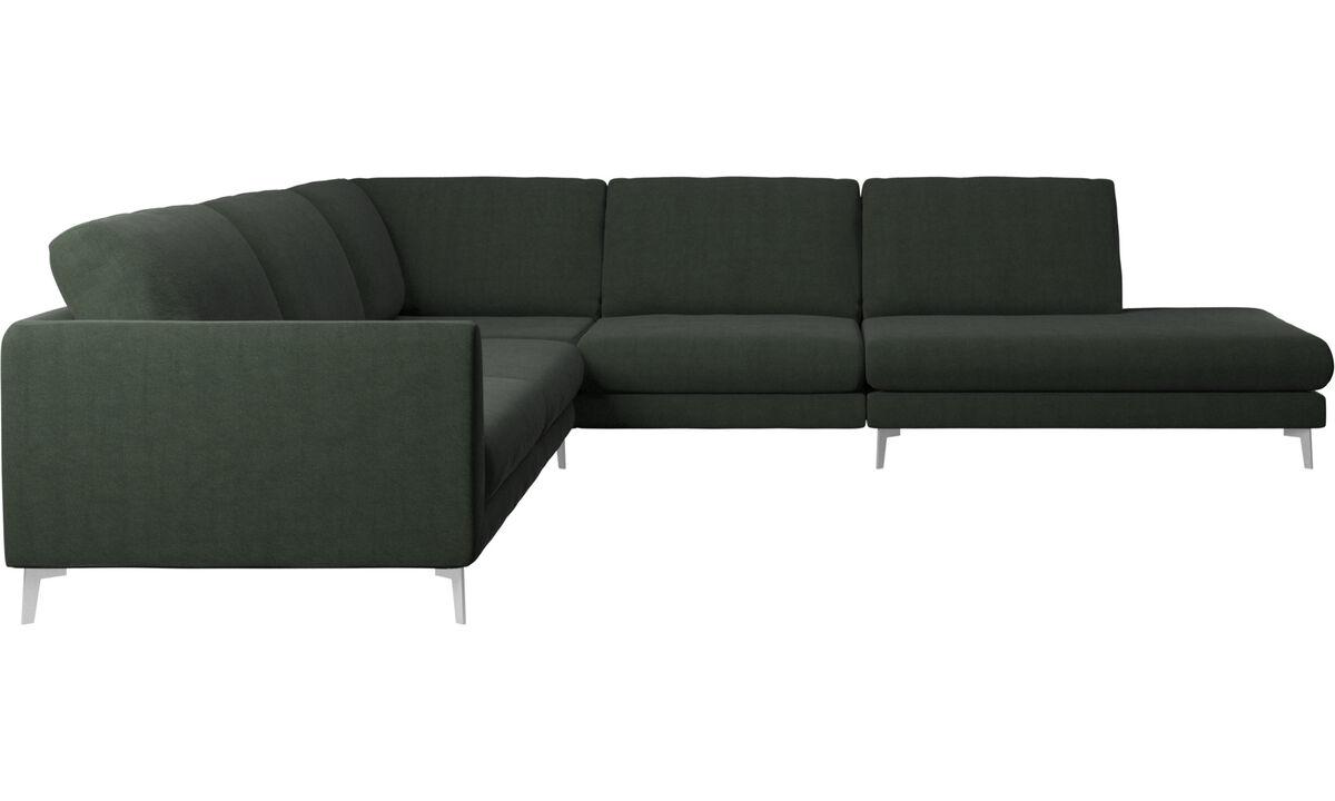 Sofás con lado abierto - sofá esquinero Fargo con módulo de descanso - En verde - Tela