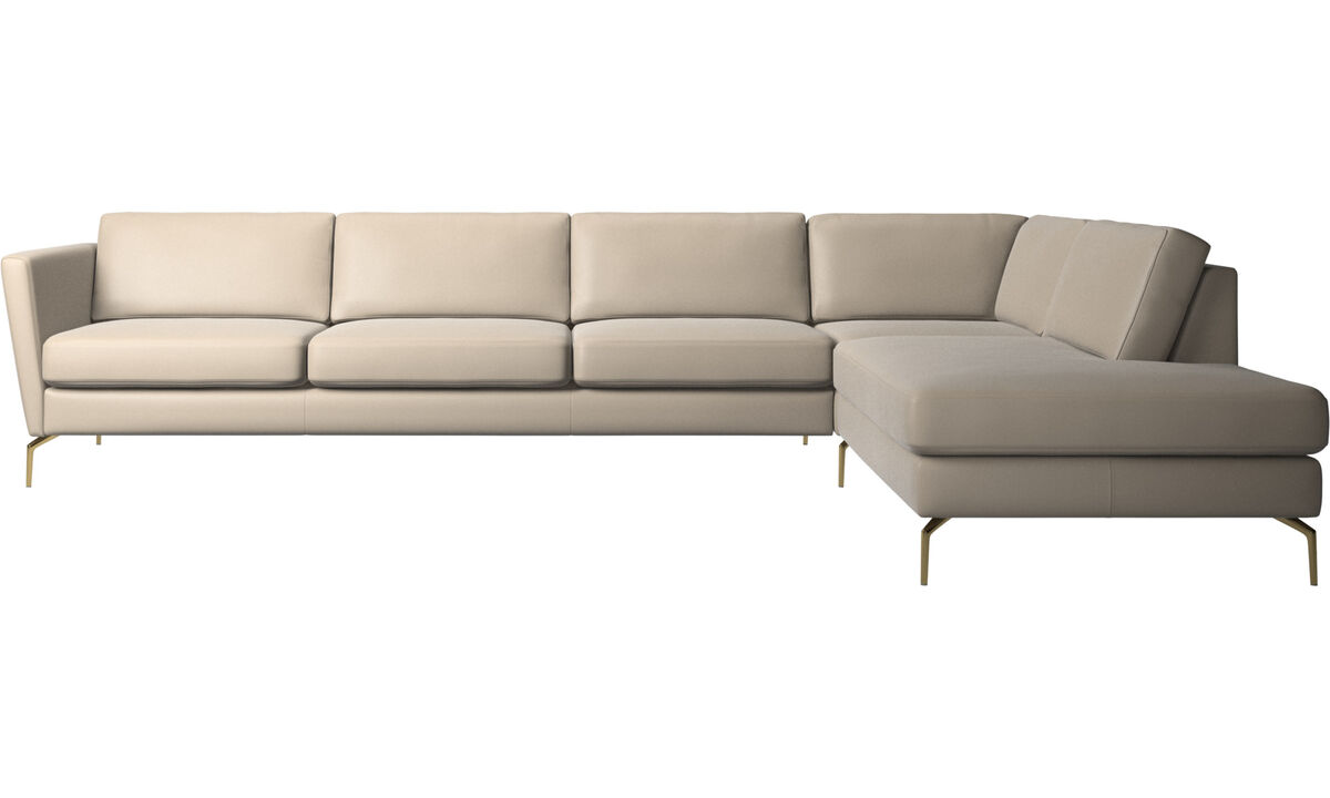 Sofas with open end - Osaka corner sofa with lounging unit, regular seat - Beige - Leather