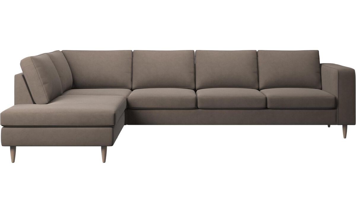 New designs - Indivi 2 corner sofa with lounging unit - Gray - Leather