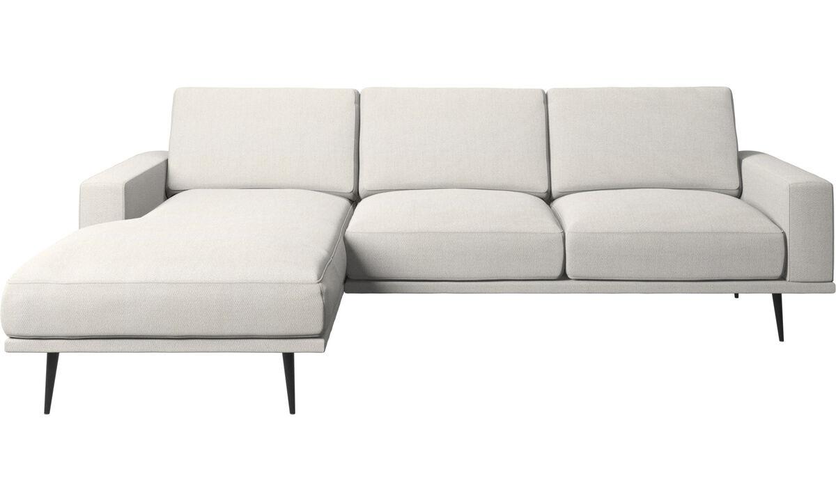 Canapés avec chaise longue - canapé Carlton avec chaise longue - Blanc - Tissu