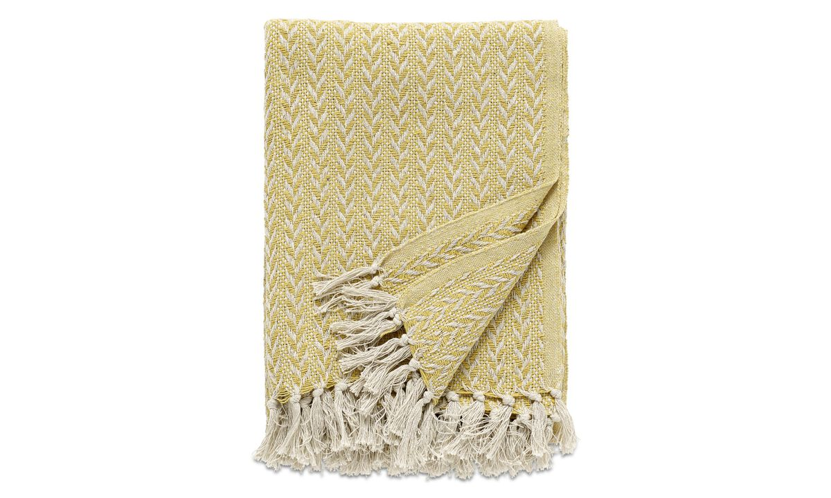 Throws & bedspreads - Opart plaid - Yellow - Fabric