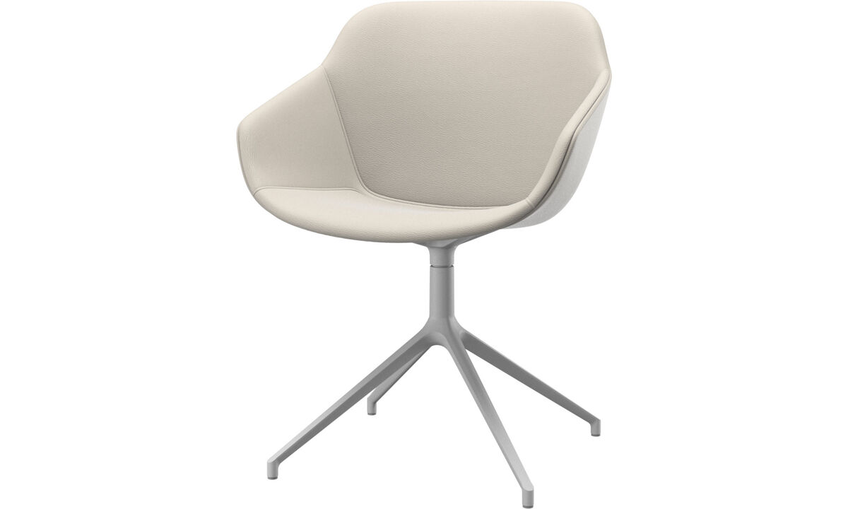 Dining chairs - Vienna chair with swivel function - White - Leather