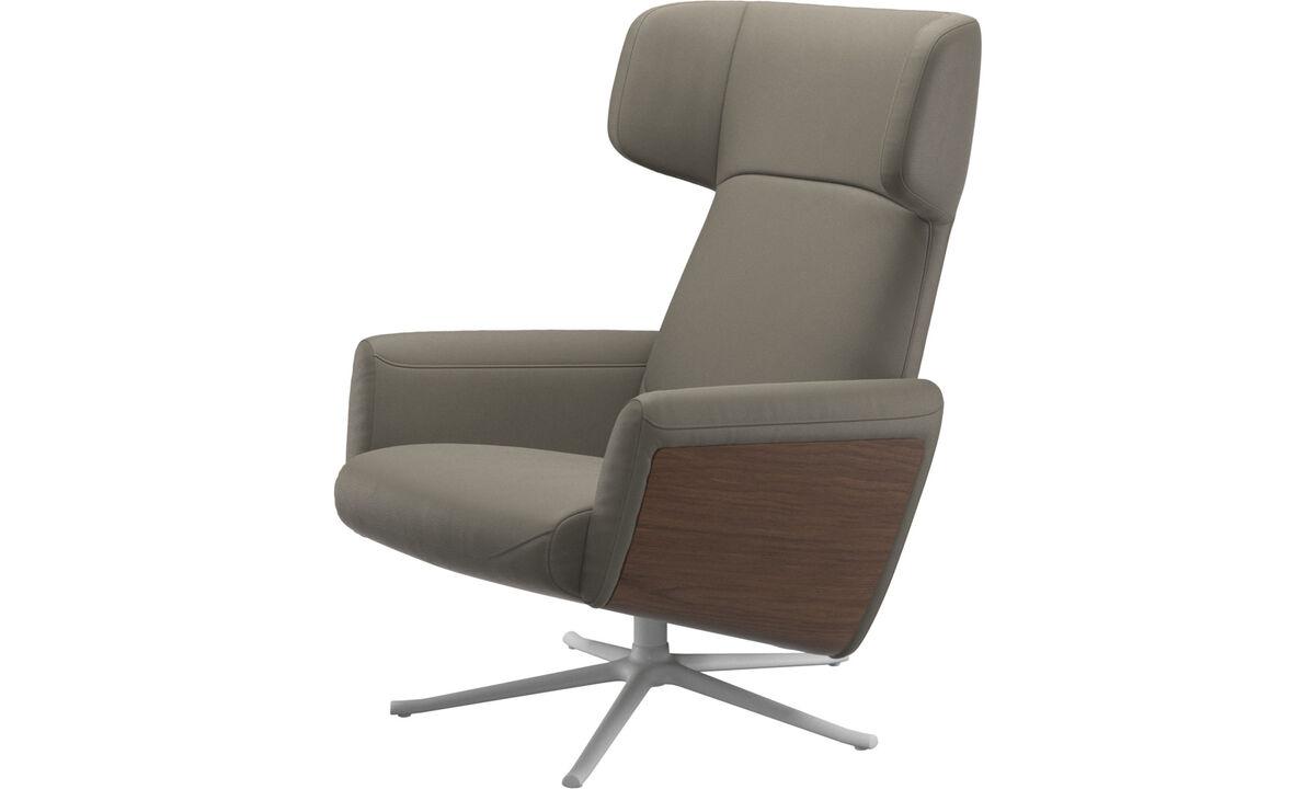 Butacas reclinables - butaca reclinable Lucca con función giratoria - En gris - Piel