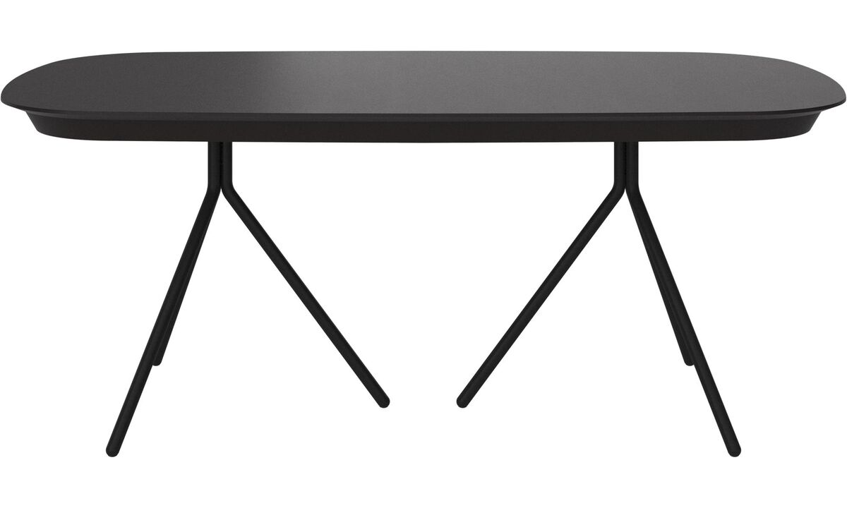Dining tables - Ottawa table with supplementary tabletop - oval - Black - Oak