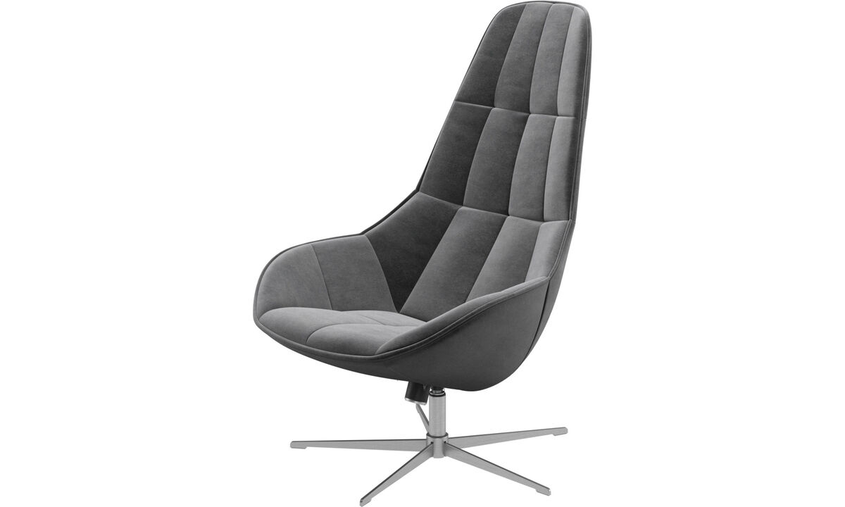 Armchairs - Boston chair with swivel and tilt function - Grey - Fabric