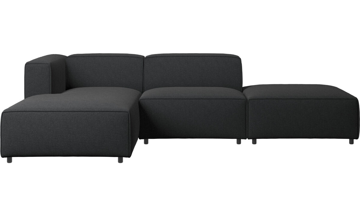 Sofas with open end - Carmo sofa with lounging and resting unit - Grey - Fabric