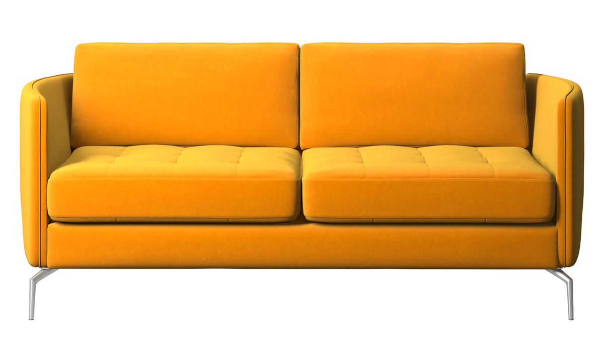 2 seater sofas - Osaka sofa, tufted seat - Orange - Fabric