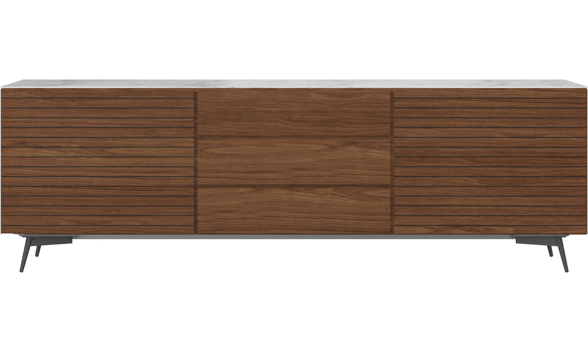Sideboards - Lugano sideboard with top plate - White - Walnut