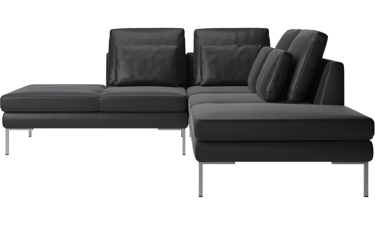 Sofas with open end - Istra 2 sofa with lounging unit - Black - Leather