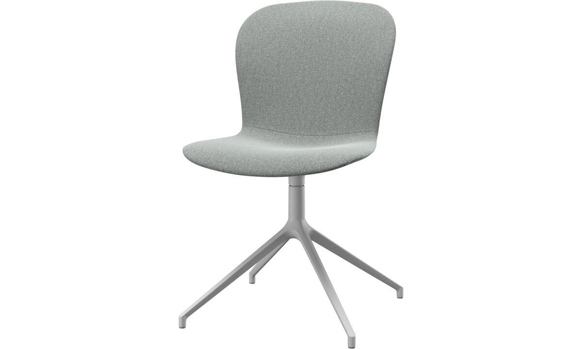 Cadeiras de jantar - Cadeira Adelaide giratória - Cinza - Tecido