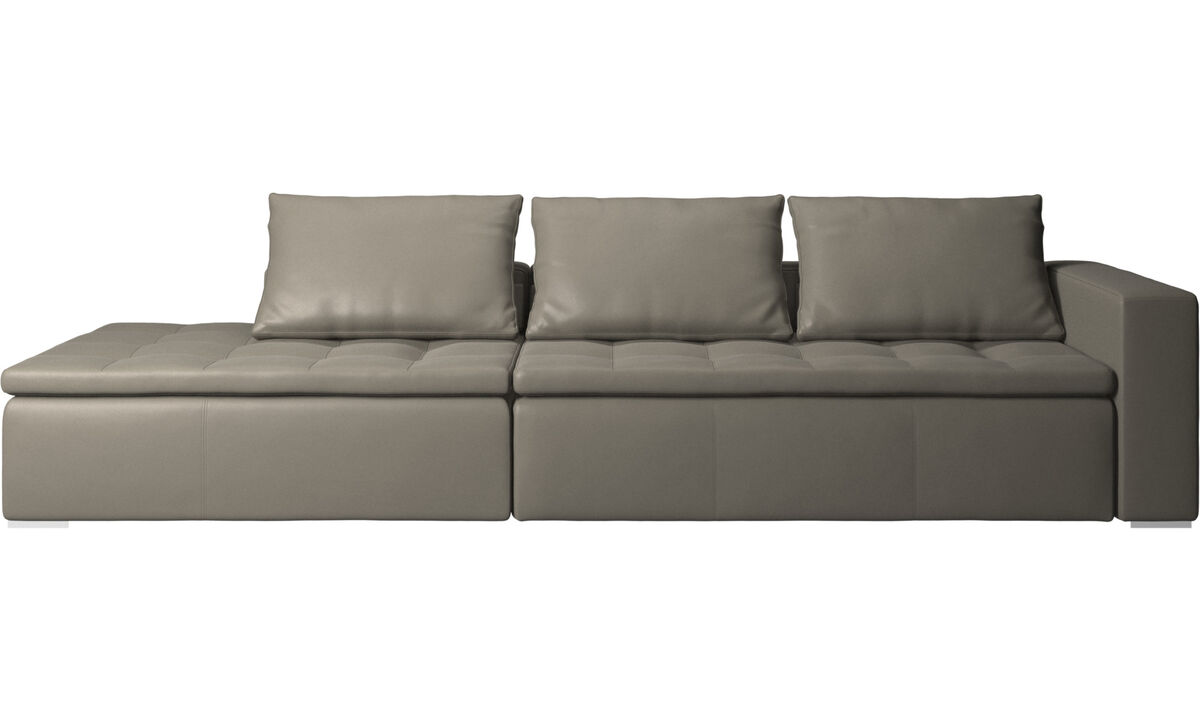 Sofas with open end - Mezzo sofa with lounging unit - Grey - Leather