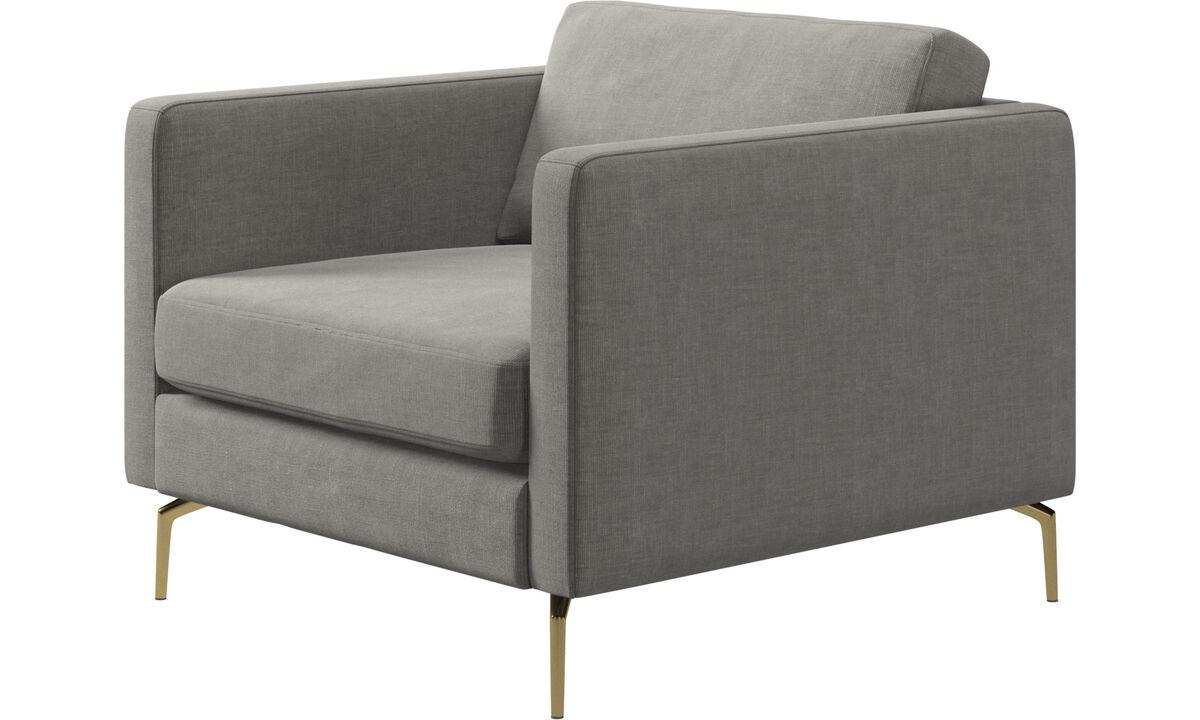 Sillones - butaca modelo Osaka, asiento liso - En gris - Tela