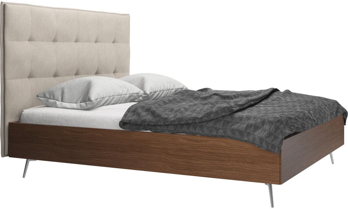 Camas - Cama Lugano, no incluye colchón - En marrón - Tela