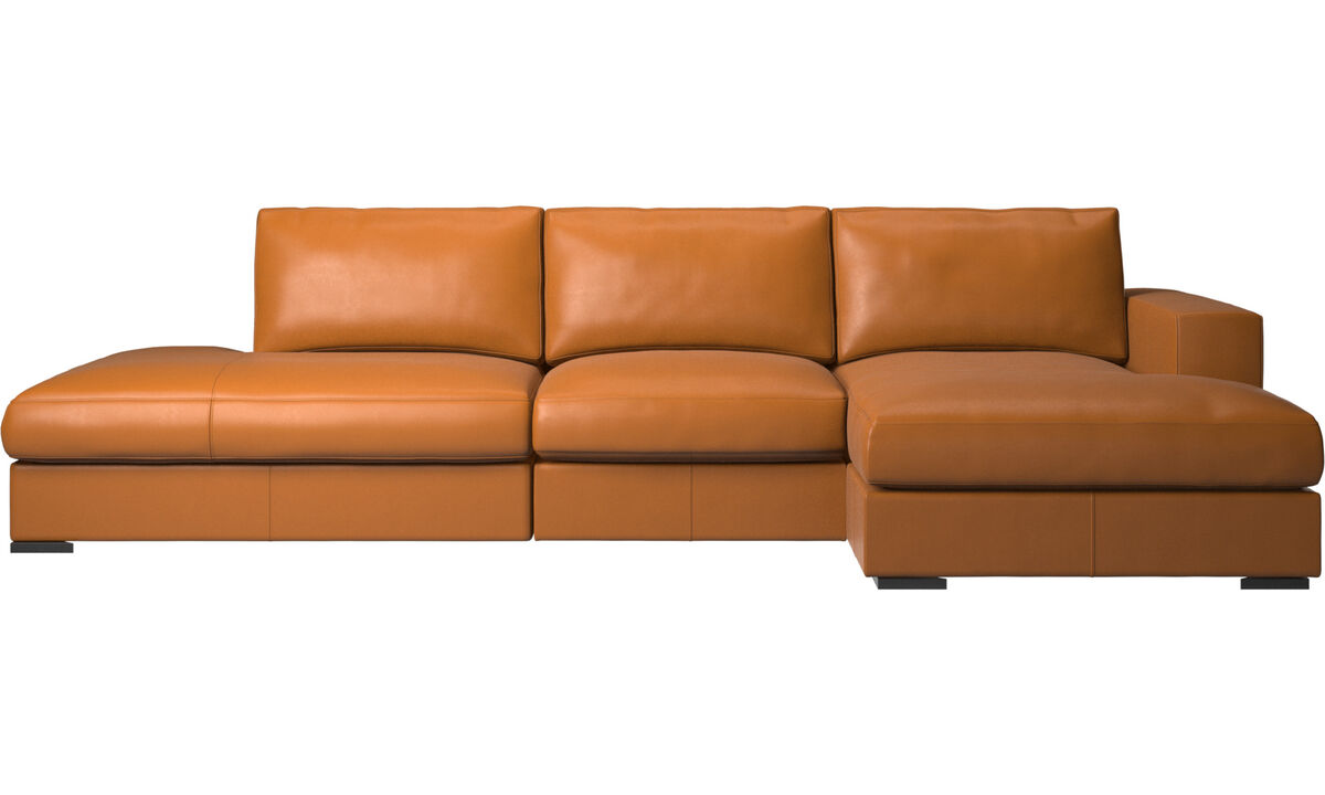 Sofas with open end - Cenova sofa with lounging and resting unit - Brown - Leather