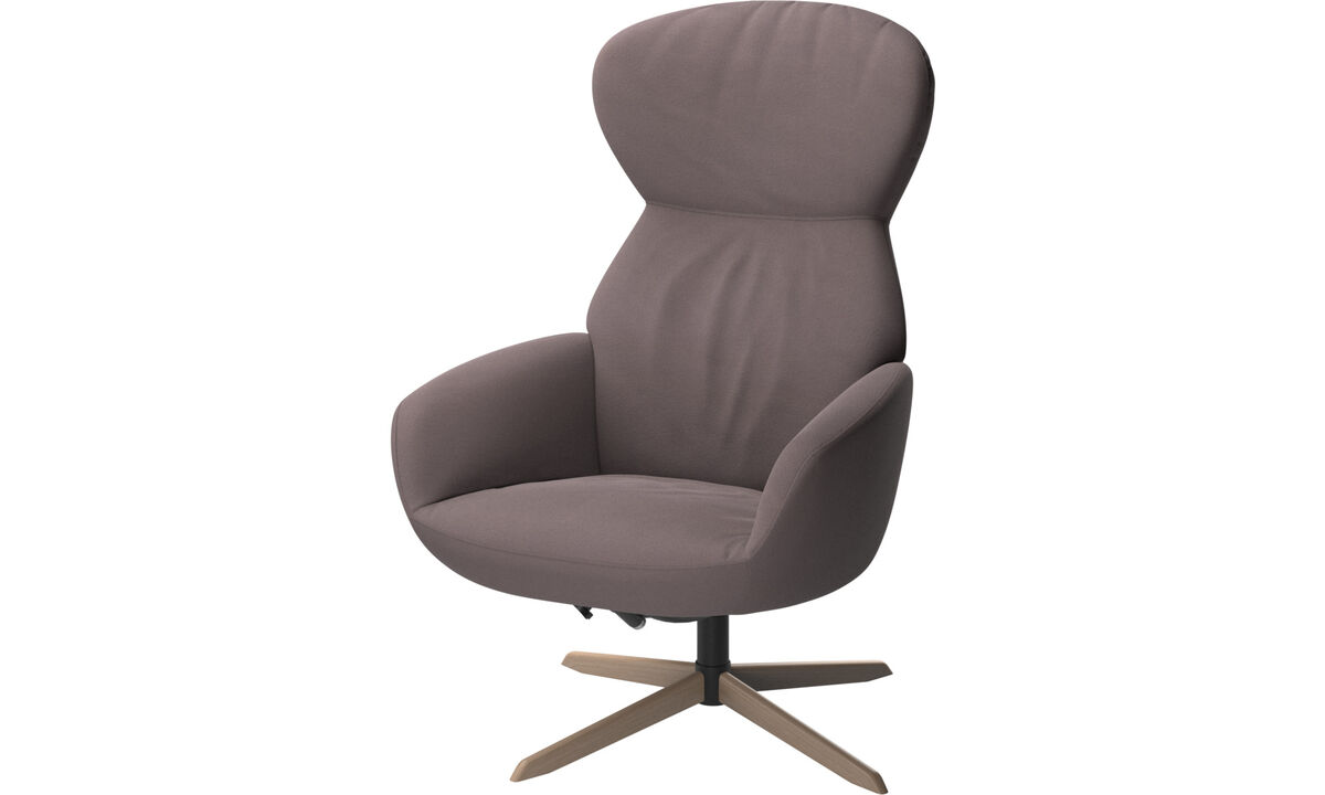 Armchairs - Athena chair with reclining back function and swivel base - Purple - Fabric