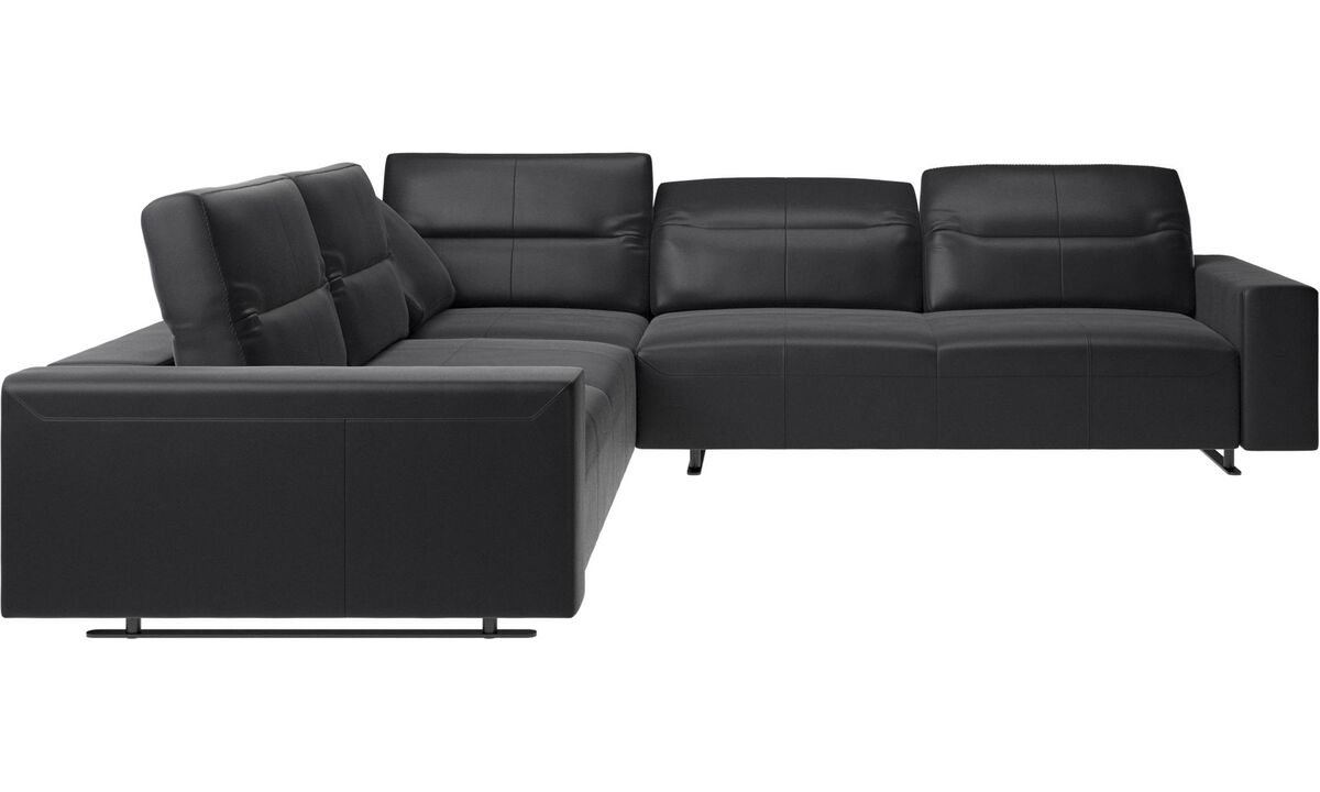 Corner sofas - Hampton corner sofa with adjustable back - Black - Leather