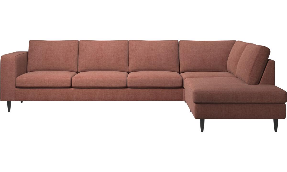 Corner sofas - Indivi corner sofa with lounging unit - Red - Fabric