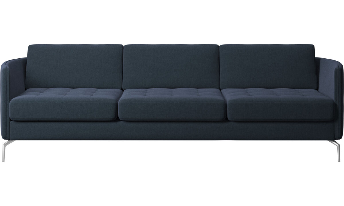 3 seater sofas - Osaka sofa, tufted seat - Blue - Fabric