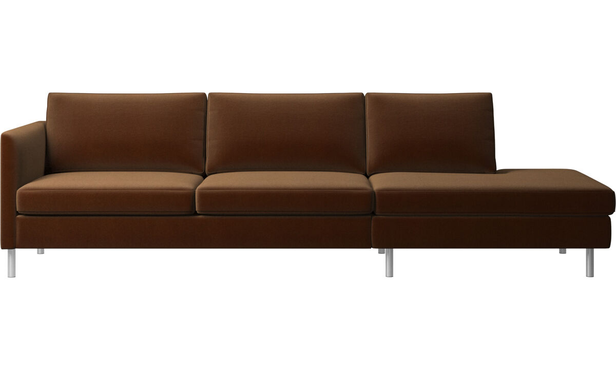 Sofas with open end - Indivi sofa with lounging unit - Brown - Fabric