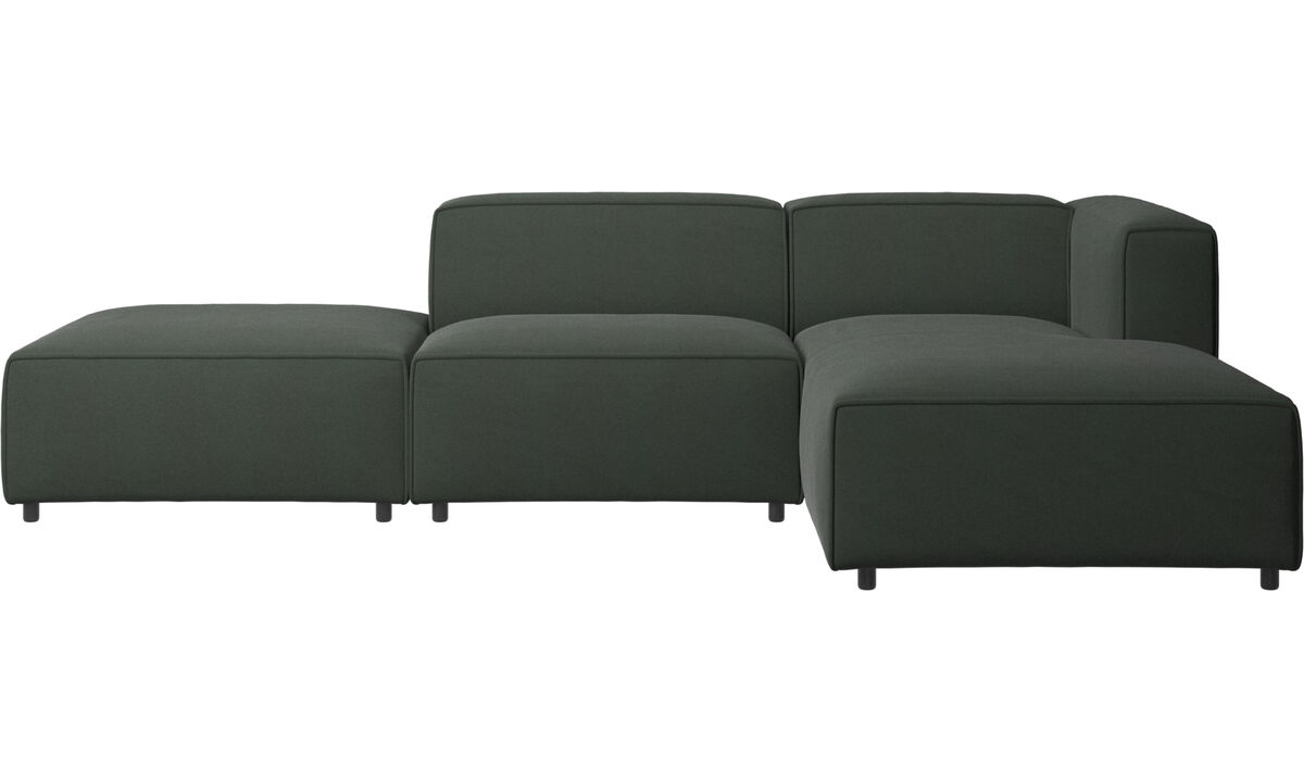 Sofás con chaise longue - sofá Carmo con módulo chaise-longue - En verde - Tela