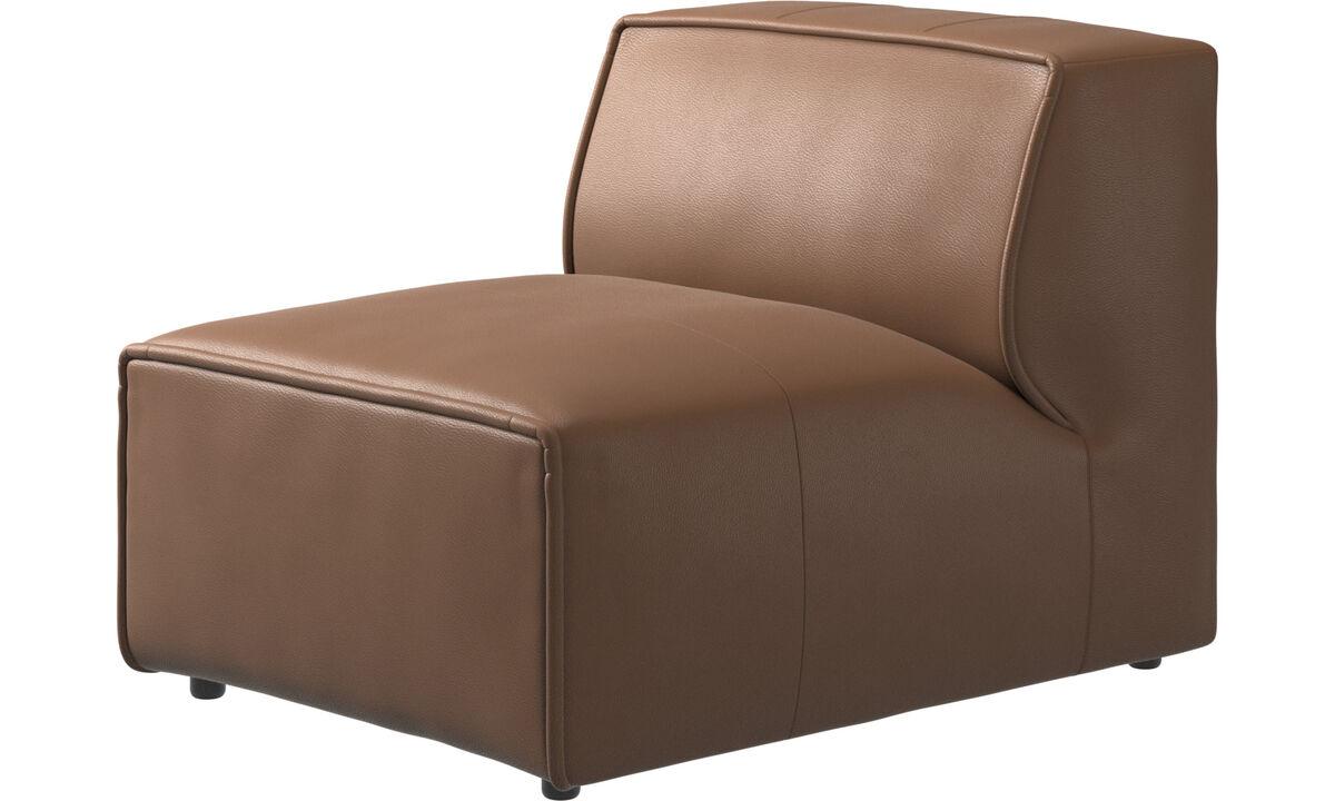 Modulárne sedačky - kreslo Carmo/základný modul - Hnedá - Koža