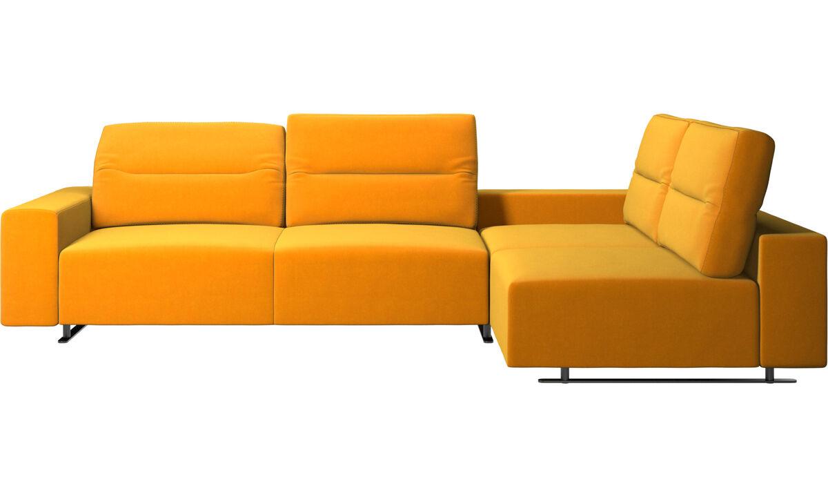 Corner & L-Shaped Sofa - Hampton corner sofa with adjustable back and storage on left side - Orange - Fabric