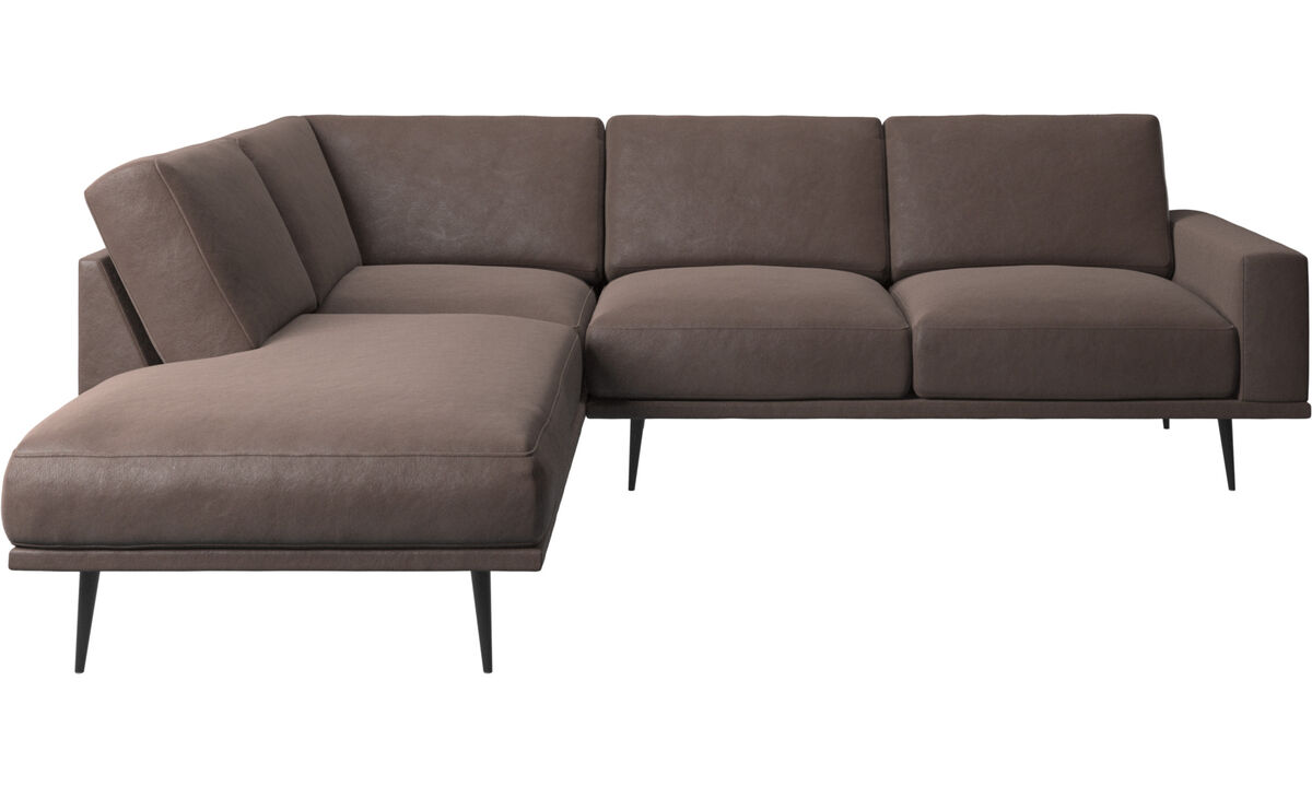 Sofas with open end - Carlton sofa with lounging units - Brown - Leather