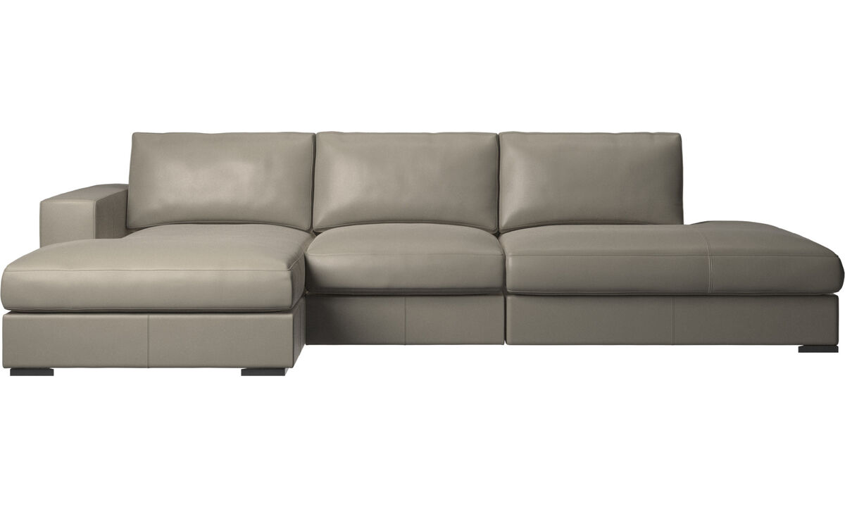 Sofas with open end - Cenova sofa with lounging and resting unit - Grey - Leather