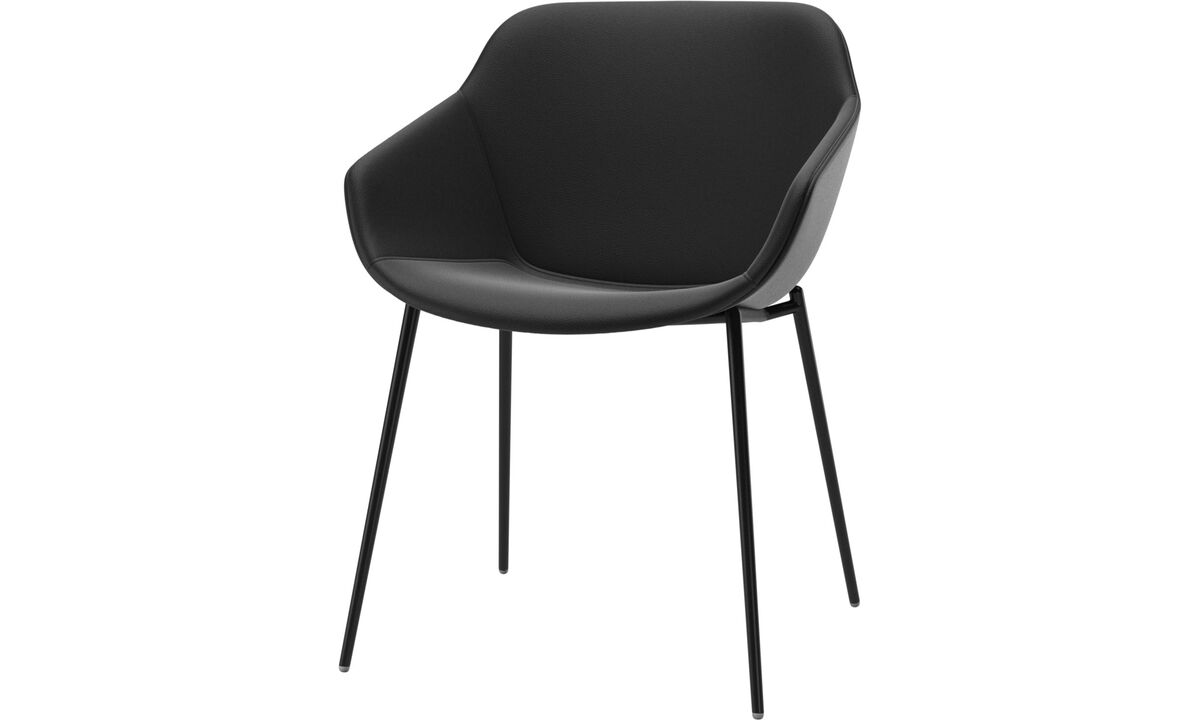 Dining chairs - Vienna chair - Black - Leather