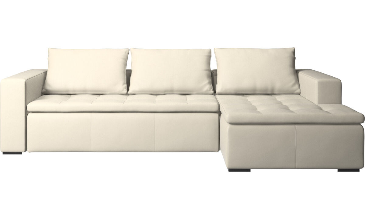 Chaise lounge sofas - Mezzo sofa with resting unit - White - Leather