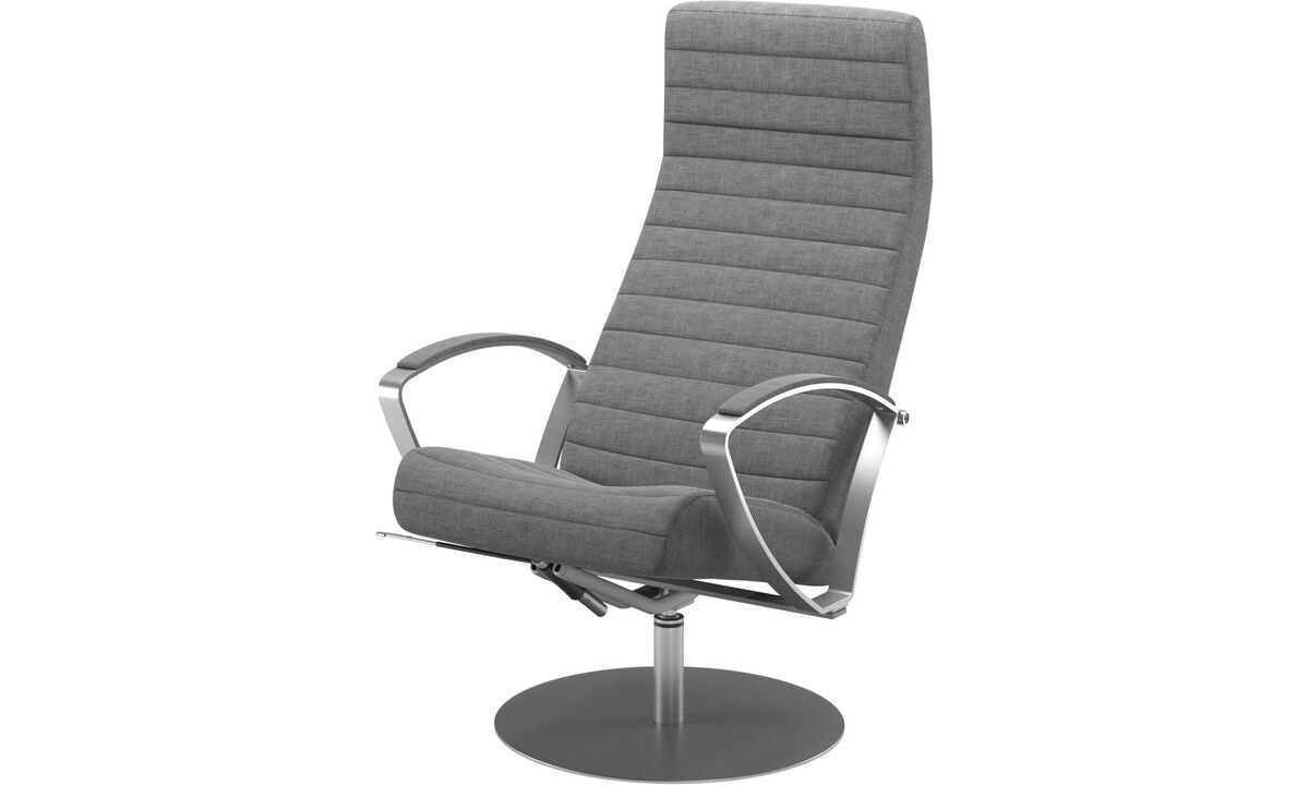 Fauteuils - fauteuil inclinable Wing avec fonction pivotante - Gris - Tissu