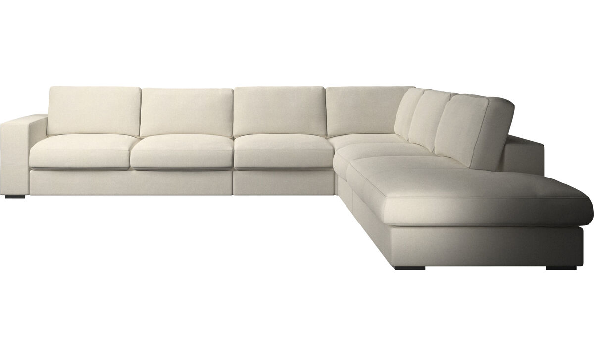 Sofas with open end - Cenova corner sofa with lounging unit - White - Fabric