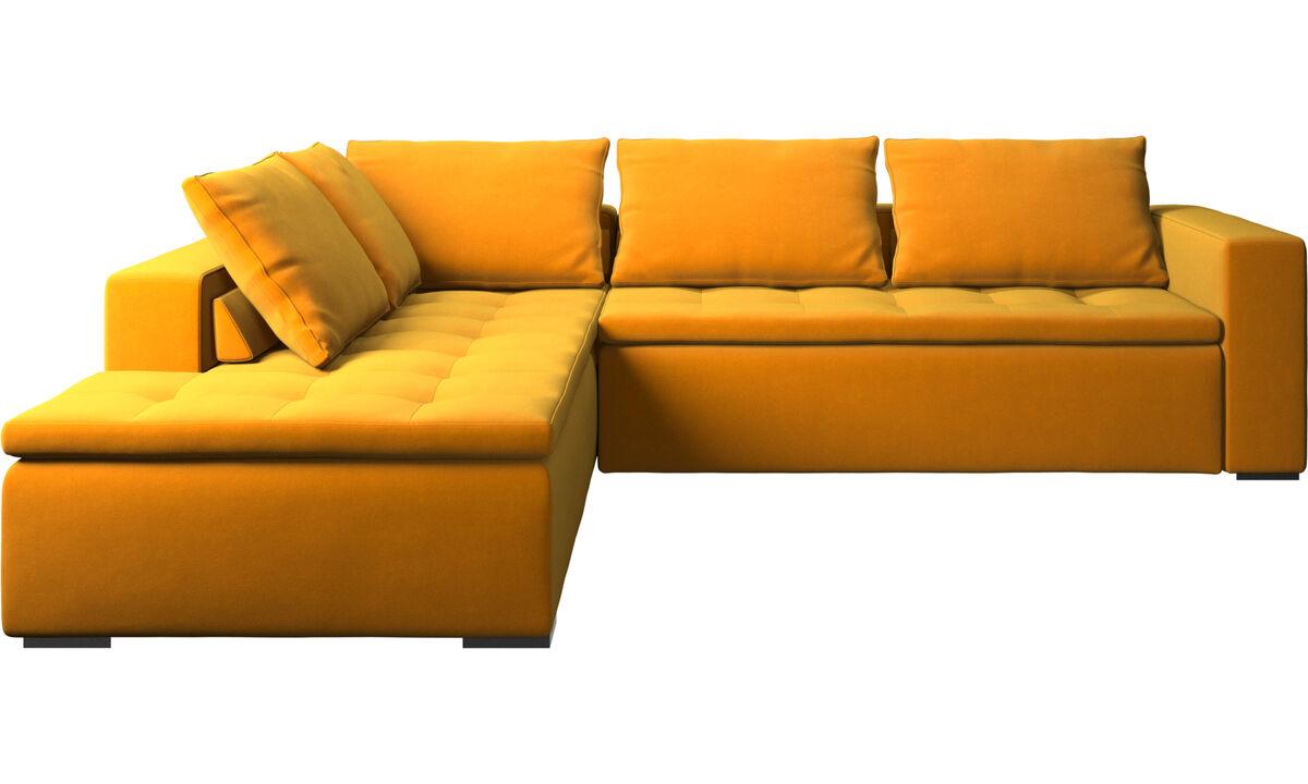 Corner sofas - Mezzo corner sofa with lounging unit - Orange - Fabric