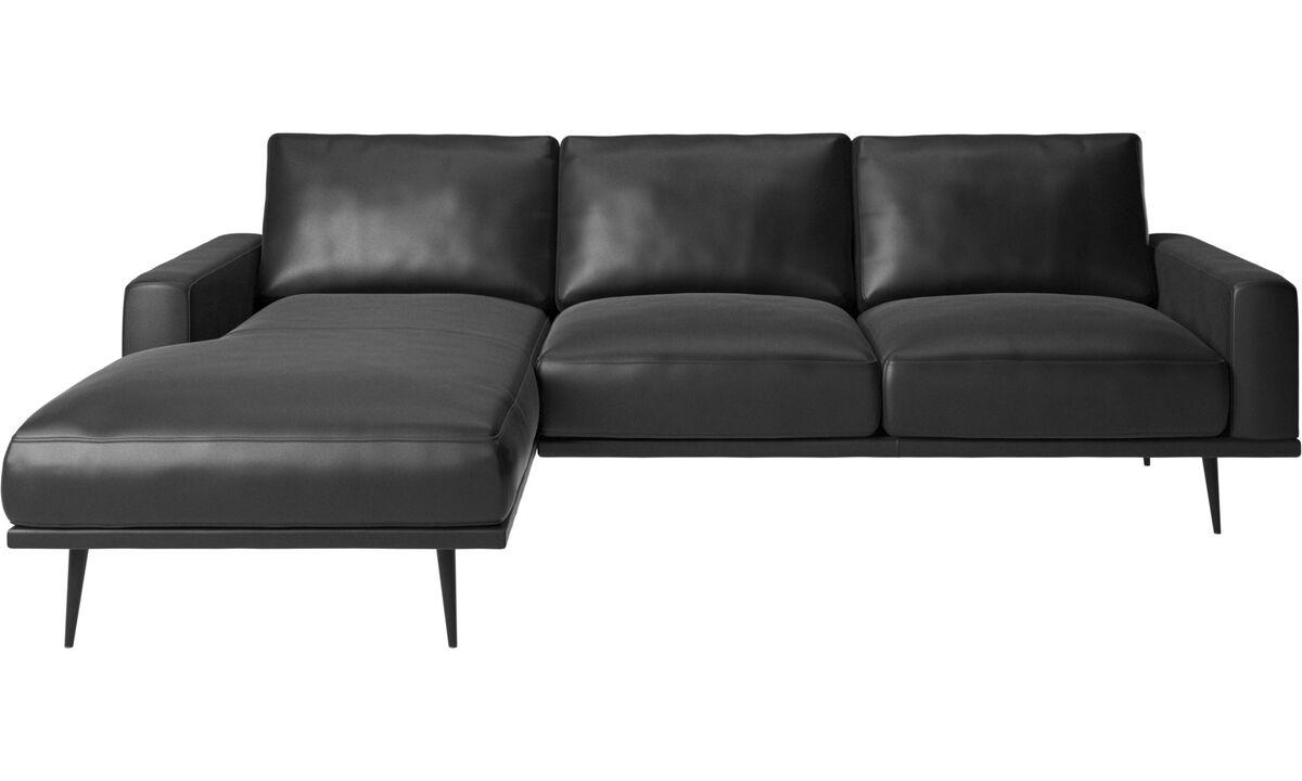 Sofás con chaise longue - Sofá Carlton con módulo chaise-longue - En negro - Piel