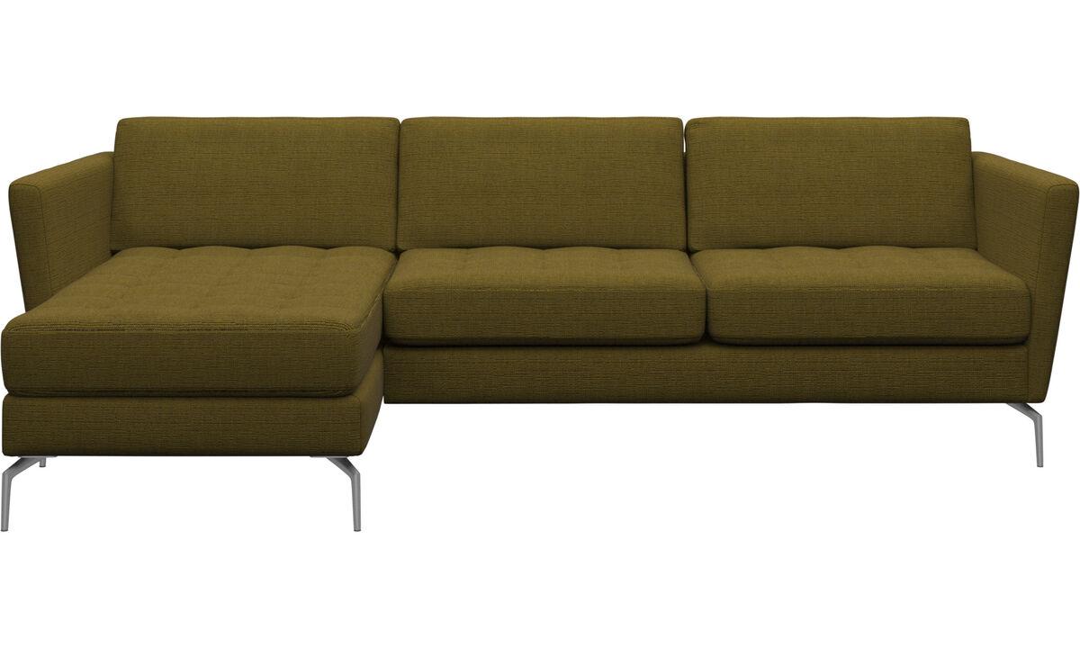 Sofás com chaise - Sofá Osaka com módulo chaise-longue, assento tufado - Amarelo - Tecido