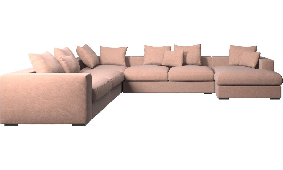 Corner sofas - Cenova corner sofa with resting unit - Red - Fabric