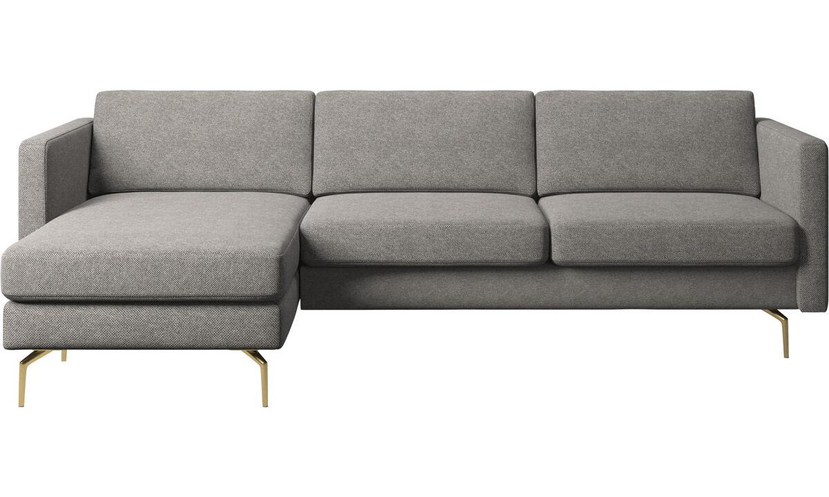 Chaise lounge sofas - Osaka sofa with resting unit, regular seat - Gray - Fabric