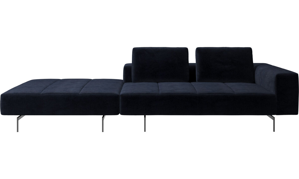 Modular sofas - Amsterdam sofa with footstool on left side - Blue - Fabric