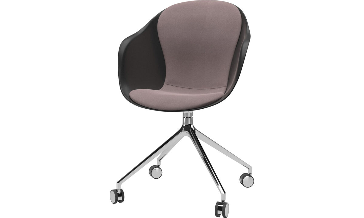 Dining chairs - Adelaide chair with swivel function and wheels - Purple - Fabric