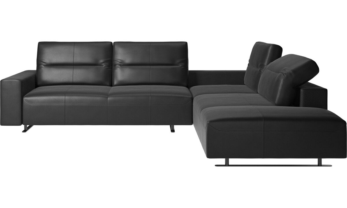 Sofas with open end - Hampton corner sofa with adjustable back and lounging unit - Black - Leather