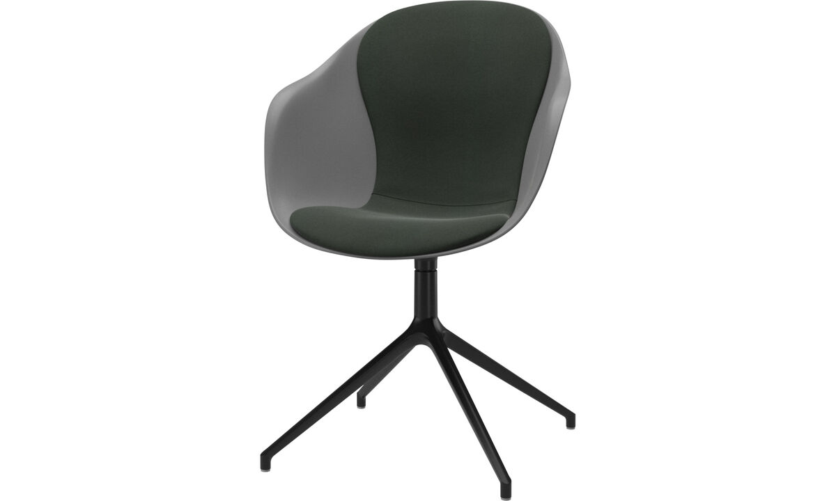 Sillas de comedor - silla Adelaide con función giratoria - En verde - Tela