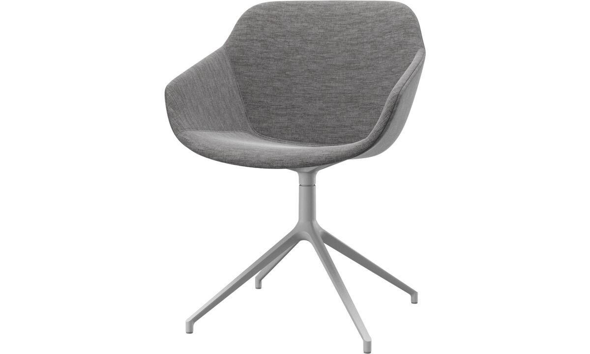 Krzesła do jadalni - fotel Vienna na obrotowej nodze - Szary - Tkanina